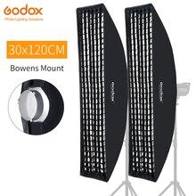 """2 Chiếc Godox 12 """"X 47"""" 30X120 Cm Dây Tổ Ong Lưới Chữ Nhật Softbox Cho Ảnh Nhấp Nháy đèn Flash Studio Softbox Gắn Kết Bowens"""