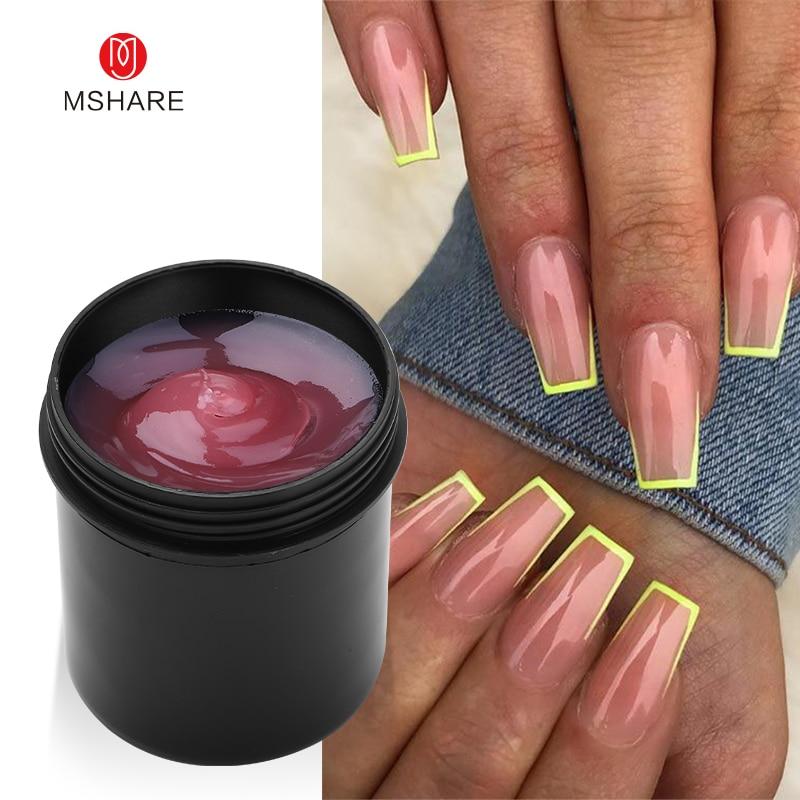 MSHARE полигель 142 г Прозрачный акриловый гель, твердый прозрачный для наращивания ногтей, розовый, телесный, белый