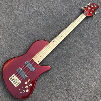 Metaliczny czerwony motyl 5 struny drewno jesionowe gitara basowa na zamówienie z fabryki szyi przez ciało 9V aktywne przetworniki elektryczna gitara basowa tanie i dobre opinie GROTE Z klonu Nauka w domu Do profesjonalnych wykonań Beginner Unisex CN (pochodzenie) Drewno z Brazylii 5 strings Bass