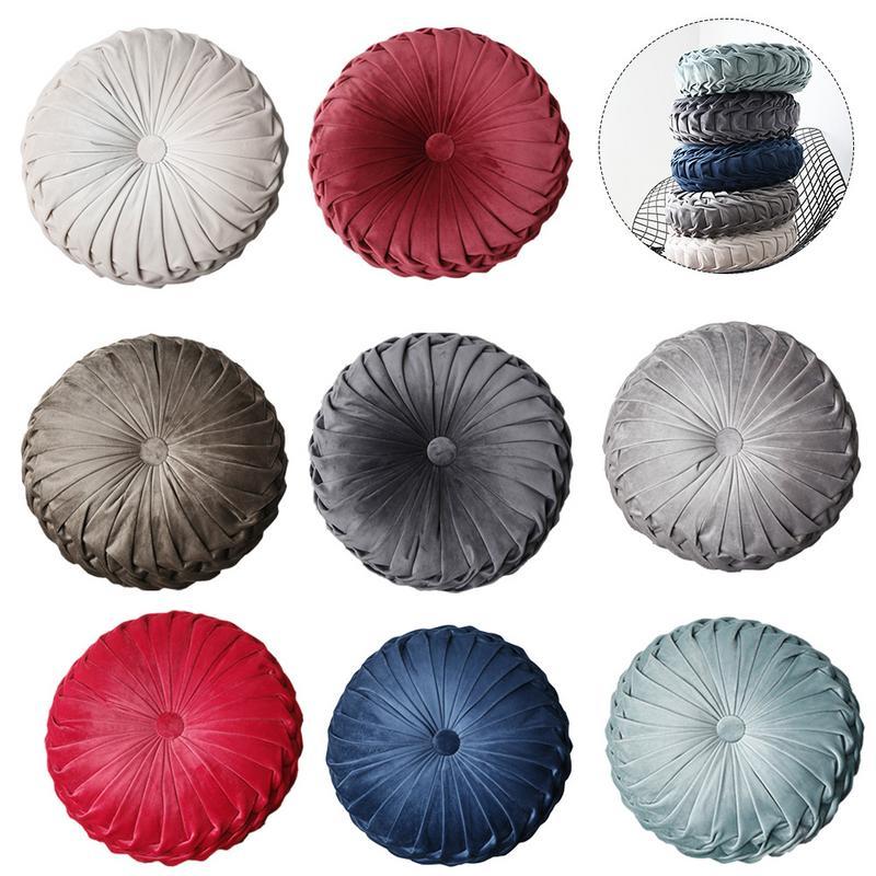Tatami Round Cushion Or As Home Decor Pillow Pad Core Velvet Fabric Car Back Sofa Office Chair Cushion Bedroom Decoration