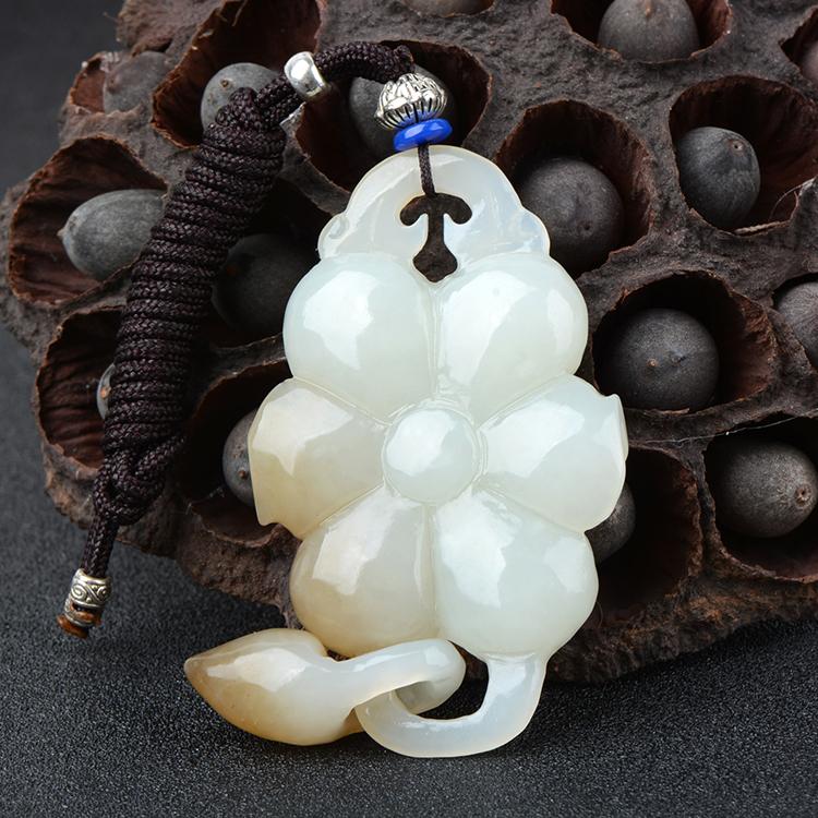Natural hetian jade pendant rough stone hollow carving lotus jade pendants natural jade stone jadeite jade necklace jade jewelry