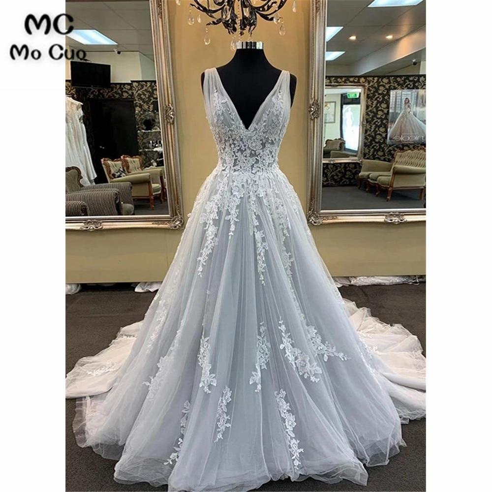 Elegant Real Sample Grey   Prom     dresses   Appliques V-Neck   dress   for graduation Tulle Tank A-Line Puffy Formal Evening   Prom     Dress