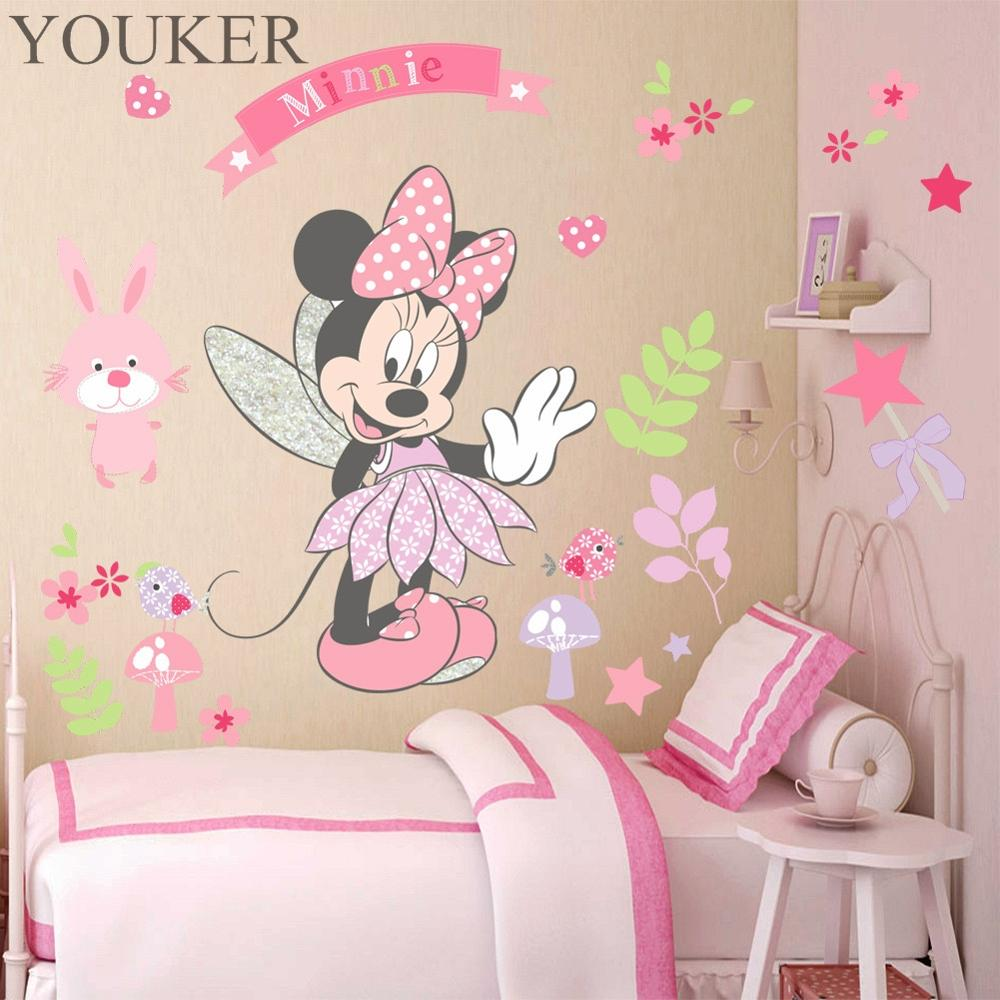 YOUKER Disney Mickey Mouse Minnie Cartoon Princess Room Decoration Sticker Children's Room Bedroom Removable Wall Sticker