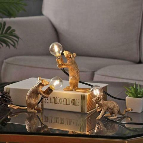 dreamburgh nordic resina rato rato lampada led candeeiro de mesa moderno pequeno mini mouse dourado