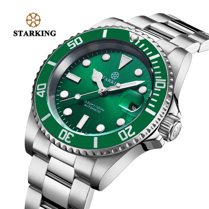<font><b>STARKING</b></font> Mens Watch Water Resistant Hot Green Ghost Watch Fashion Mechanical Watch Clock Auto-date Luminous Wristwatch Rolexable image