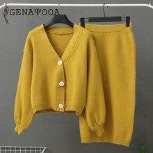 Genayooa Knitted Womens Two Piece Set 2020 Women 2 Piece Set Sweater Suit Vintage Long Sleeve Cardigan Female Midi Skirt Set