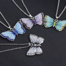 Butterfly Necklace Alloy Enamel Butterfly Pendant Necklaces Suspension Silver Color Plated Vintage Necklace For Women Jewelry necklaces for women judaism menorah star of david pendant necklace 39x32mm silver plated color fashion jewelry