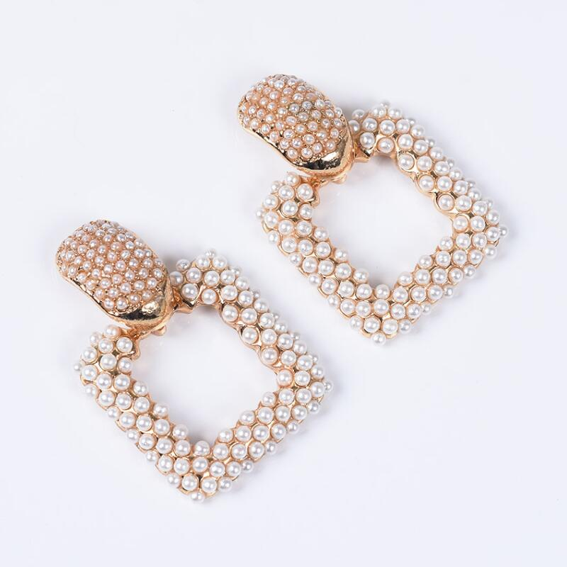 19 New Statement ZA Earrings Women Geometric Square Faux Pearl Earrings Female Wedding Bridal Party Evening Hanging Earrings 4
