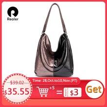 REALER sacchetto di spalla delle donne del cuoio genuino Hobo borsa per le signore 2020 Patchwork Borsoni femminile di lusso delle donne delle borse del progettista