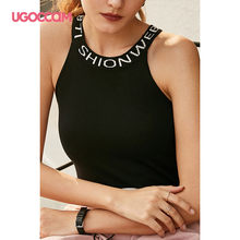 UGOCCAM Black Tank Tops Tight Knitted Off Shoulder Sexy Stretch Crop Tops Female O-Neck Sleeveless Summer Clothes for Women