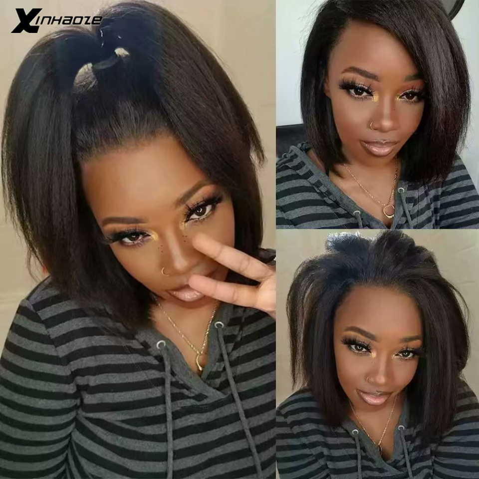 Light Yaki Straight 13x6 Lace Front Human Hair Wigs For Women 150 Density Coarse Yaki Kinky Brazilian Short Bob Wig
