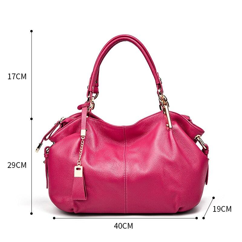 Bureau dames sacs à main Qiwang véritable sac à bandoulière en cuir véritable marque de luxe noir sac à main pour femmes casual fourre tout grande capacité - 6