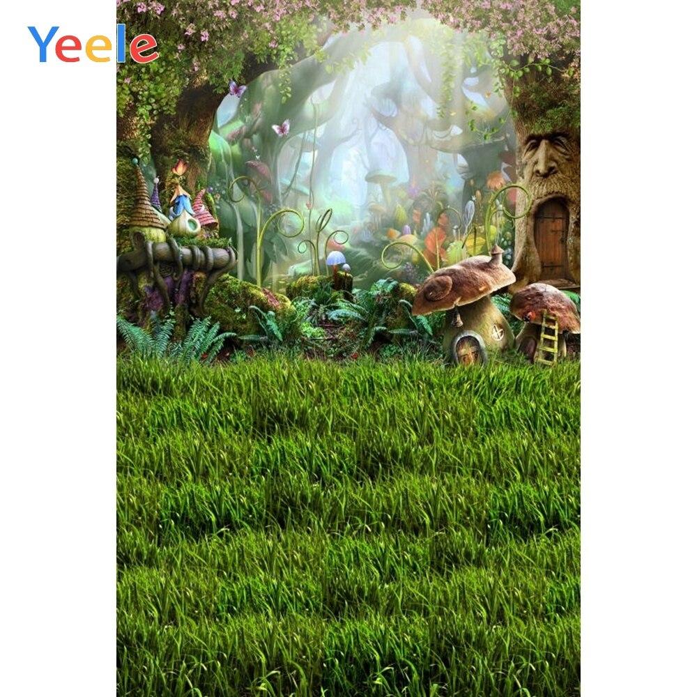 Виниловый фон для детской фотосъемки с изображением сказочного леса гриба страны чудес природный пейзаж
