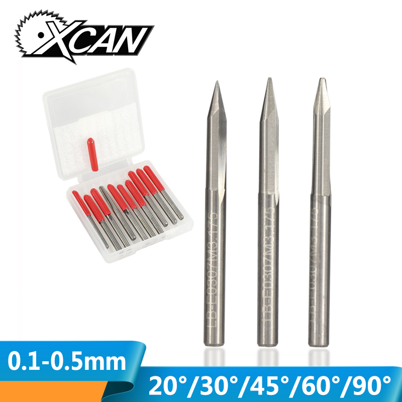XCAN 10pcs 20/30/45/60/90 Degrees Tip 0.1-0.5mm V Shape End Mills 3.175 Shank CNC Router Bit For Woodworking Engraving Bits