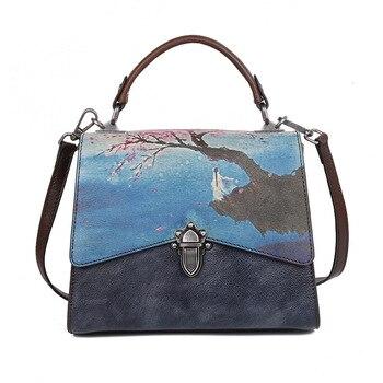 2017  Fashion Women Saddle Bag Vintage hand painted Real Leather Shoulder Bag 3 Ways Used Handbag top tote Crossbody Bag