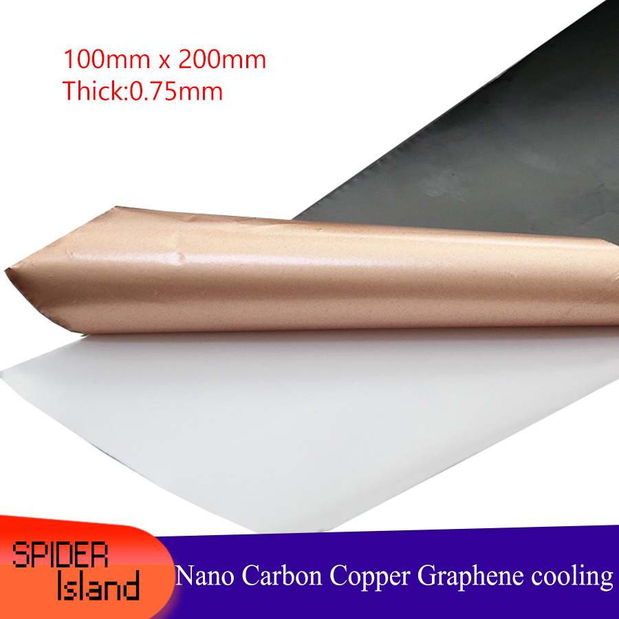 Mobile Cooling Film Graphite Copper Foil Nanometer Carbon Cooling Fin PC CPU Insulation Stickers 100mm*200mm*0.75mm Graphite Fin