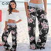 2021 Spring and Autumn Plus Size Women's Full Length Wide Legs High Waist Printed Loose Casual Beach Pants 2