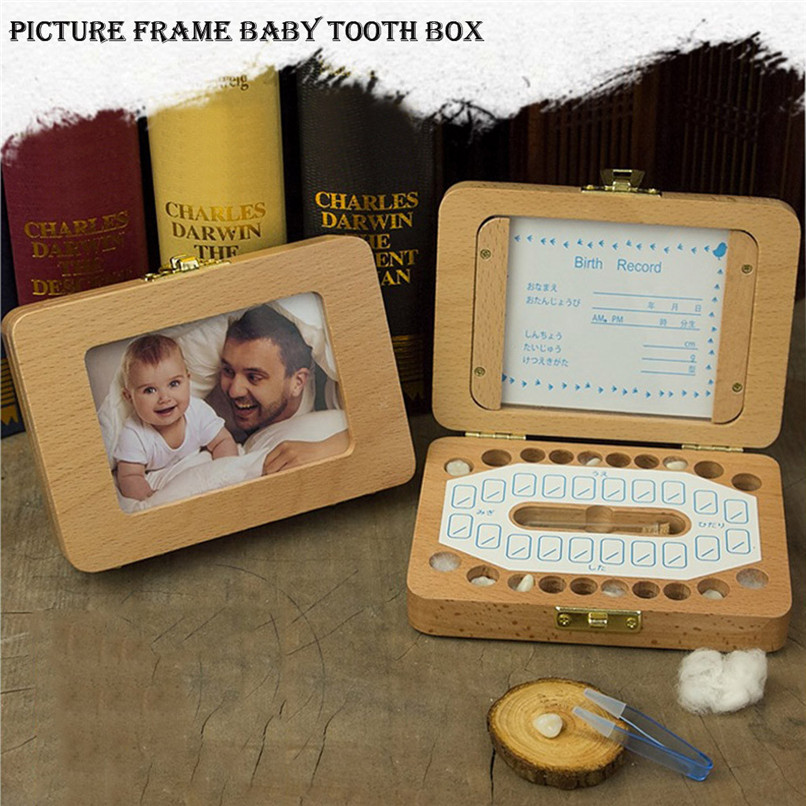 Baby Teeth Boxes Souvenirs Storage Jars Wooden Keepsake Souvenir Save Storage Milk Kids Tooth Organizer Gift Collecting #40D05