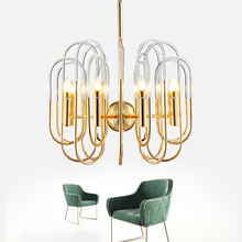 Postmodern Golden LED chandelier lighting Iron luxury hanging lamp Nordic Acrylic fixtures living room home deco luminaires