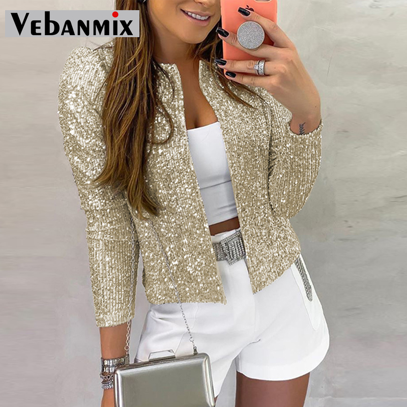 Women Jacket Sequined Bling Bling Glitter Coat Female Tops Open Front Stand Collar Office Lady Long Sleeve Cool Party Clubwear