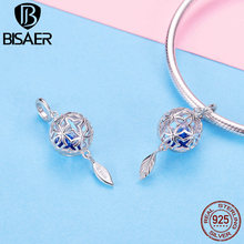 BISAER 925 Sterling Silver Openwork Ball with Blue Cubic Zirconia Stone Pendant Charm for Women Charmes Bracelet GXC1123 chic openwork circle turquoise bracelet for women