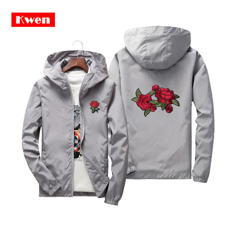 2019 Family <font><b>Clothing</b></font> Rose Embroidery Jackets <font><b>Men</b></font> Women Flower Embroidered Polyester Jacket Hip Hop Casual <font><b>Plus</b></font> <font><b>Size</b></font> <font><b>6XL</b></font> 7XL image