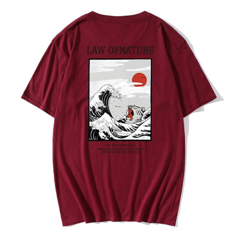 그레이트 레트로 웨이브 AnimeSea 고양이 티셔츠 하라주쿠 Streetwear 면화 Camisetas Hombre 남자 Vaporwave 재미있는 멋진 힙합 티셔츠
