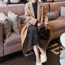 Autumn 2019 Wool Coat Herringbone Big Pocket Manual Double-sided Tweed Processing Adjustable Waist Long Women