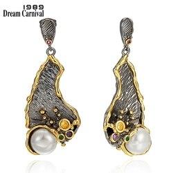 DreamCarnival Vintage Big Dangle Earrings For Women Simulated Pearl Drop Earings 2020 New Zirconia Female Fashion Jewelry WE3993