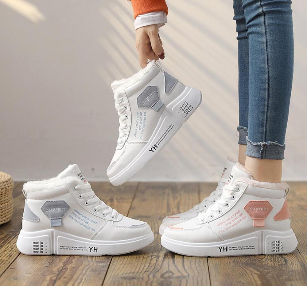 2020 botas de calentamiento de encaje de invierno al aire libre de felpa zapatos casuales de vestir botas de nieve femeninas calzado zapotos mujer Zapatillas de deporte calientes