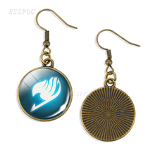 Silver/Bronze Fairy Tail Long Earring Guild Logo Vintage Glass Cabochon Hook Anime earring Jewelry Natsu Cosplay Gifts