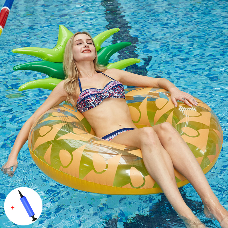 Adult Buoyancy Inflatable Swimming Ring With Backrest Pineapple Floating Pool Swimming Circle Water Float Bed Toy Beach Lifebuoy