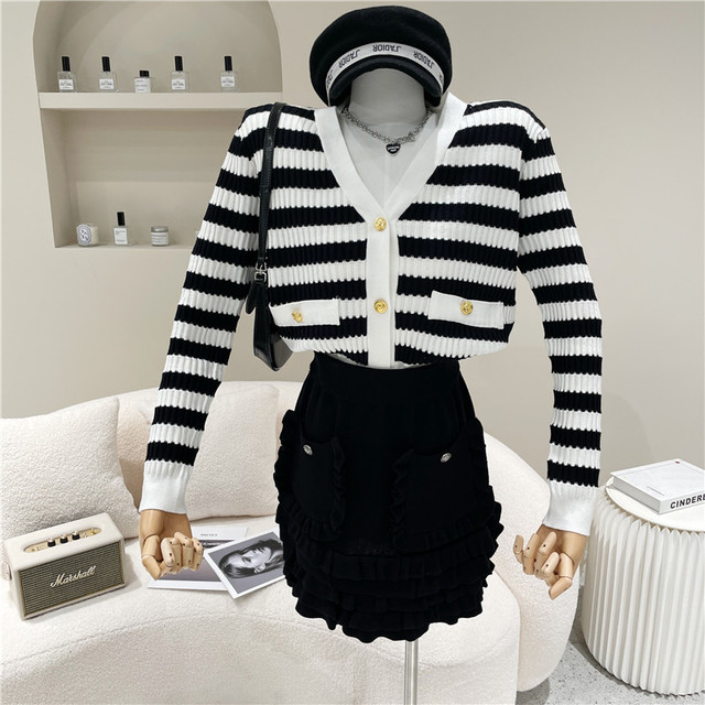 Causal Knitted Sweater 2 Piece Set Women Outfits Striped Long Sleeve Elegant Cardigan Top + Pleated Mini Skirts Two Piece Suits 3