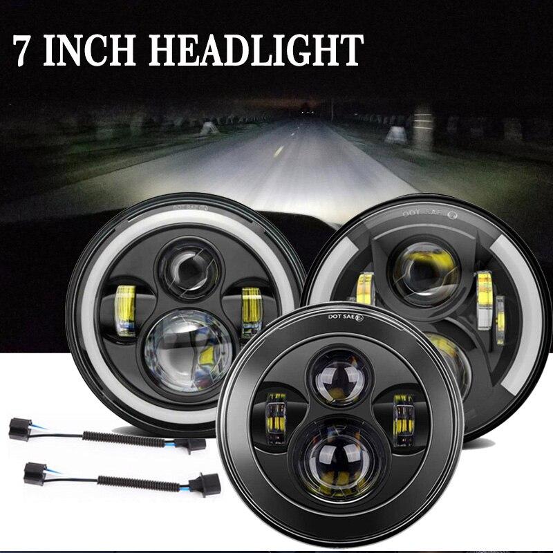 "2X 7 ""pouce LED ronde Halo phare salut/Lo DRL faisceau pour Jeep Wrangler JK LJ TJ CJ Lada 4x4 urbain Niva Land Rover Defender"