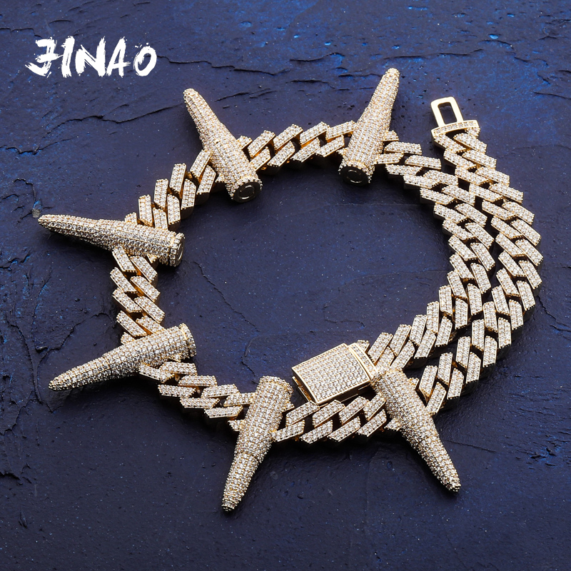 JINAO New 14 mm Rivet Bullet-shaped Cuban Chain Necklace Full AAA   CZ Stones Chain Hip Hop Jewelry Punk Style Necklace