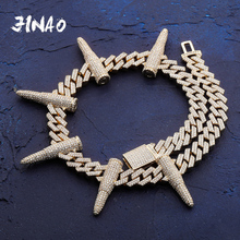 Cuban Chain Necklace Punk-Style Jewelry CZ JINAO 14-Mm Rivet Hip-Hop Bullet-Shaped Full-Aaa