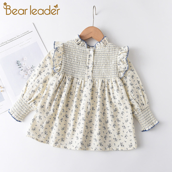 Bear Leader Girls Kid Floral Blouses 100% Cotton Toddler Baby Flowers Clothes Ruffles Sweet Shirts Children Casual Clothing 1 5Y jxysy toddler kid baby girls clothing set ruffles floral top pleated pants spring autumn girls clothes children costumes