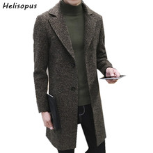 Helisopus Mens Thick Wool Trench Coat Men Long Casual Coats Lapel Coll
