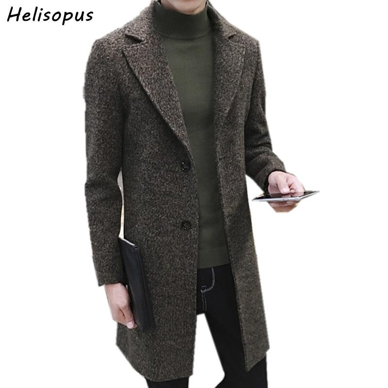 Helisopus Men's Thick Wool Trench Coat Men Long Casual Coats Lapel Collar 2020 Autumn Winter Slim Overcoat Plus Size M-5XL