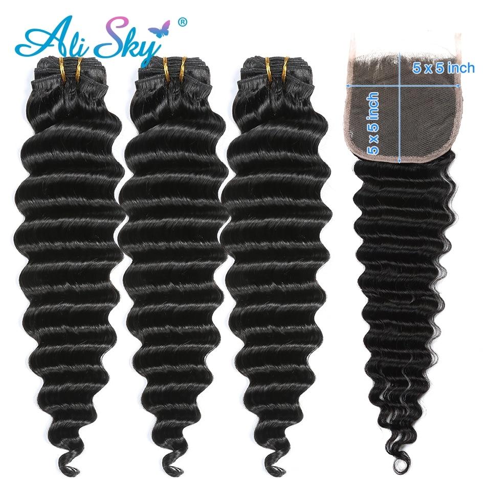 Alisky Hair 3/4  Bundles With A 5*5 Swiss lace Closure Peruvian Deep Wave Hair 100% Human Hair Extension Natural Black Remy Hair