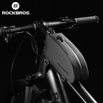 ROCKBROS torba na rower rowerowa sakwy rama przednia rurka wodoodporna torba rowerowa MTB Road torby do przechowywania akcesoria rowerowe tanie i dobre opinie CN (pochodzenie) NYLON Z pokrywką AS-019 Black S about 21 5*5 5*8 5cm M about 23 5*6 5*10 5cm S about 90g M about 125g