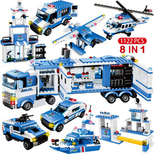 1122Pcs 8IN1 Swat Stad Politiebureau Bouwstenen Compatibel Technic Auto Vrachtwagen Schepper Bricks Speelgoed Voor Kinderen Jongens Geschenken