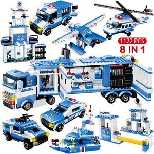 Image 1 - 1122pcs 8IN1 SWAT בניין תחנת המשטרה עיר בלוקים תואם טכני רכב משאית בורא לילדי בני מתנות