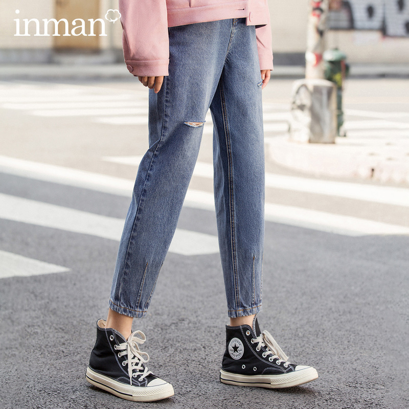 INMAN 2020 Spring New Arrival Literary Retro Pure Cotton Hole Wash Loose Ankle-length Pencil Pant