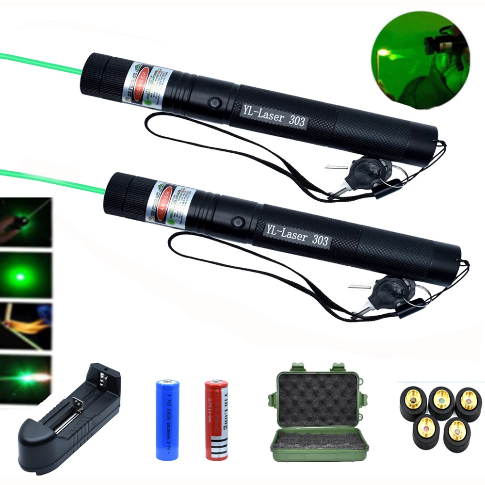Green Lasers pointer hight Powerful Laser Sight 1000m 532nm 5mw device Adjustable Focus Lazer 303 laser torch set