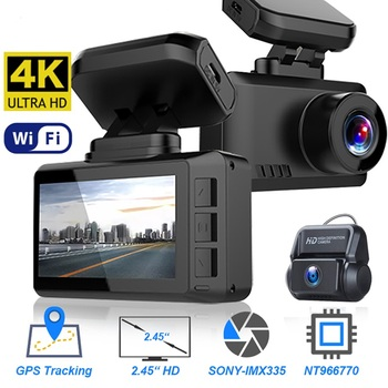 GPS Wifi Dash Cam Car DVR 4K Gesture Sensing Taking Photos Video Registrar Drive Recorder NTK96670 Sony IMX335 Magnetic Bracket image