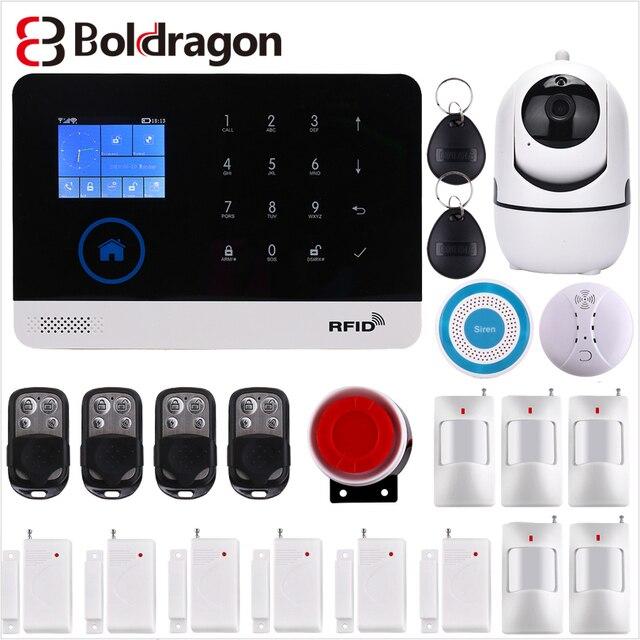 Wireless Home Security WIFI GSM GPRS Alarm system APP Remote Control RFID card Arm Disarm EN RU ES PL DE Switchable