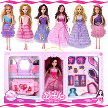 Dressing Toys Girls Playing Doll Beauty Salon bar bie Hairdresser Fashion Hair Salon Play Set Doll With Pretty Dress Doll Toys(China)