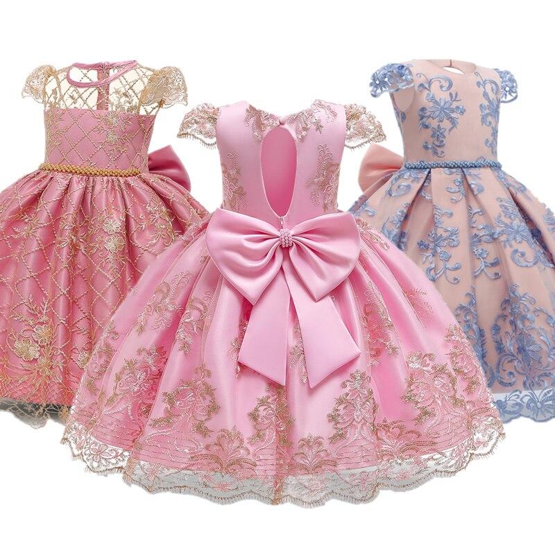 Bola para fiesta de cumpleaños para niñas, vestido de dama de honor, Formal, de boda, de encaje Floral, ropa con la espalda descubierta, vestidos de princesa