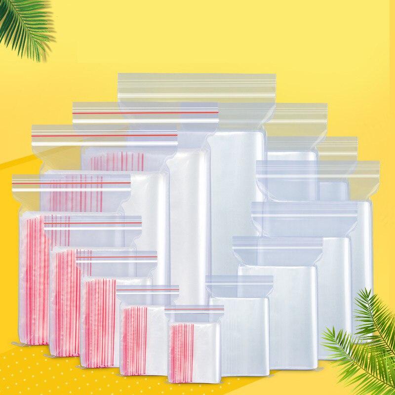 Прозрачный пакет 100 шт./лот, пластиковый пакет с застежкой-молнией, прозрачные пакеты с застежкой-молнией для фруктов, закусок, пищевых проду...
